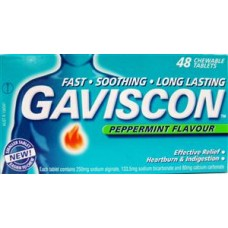 Gaviscon Peppermint flavor Chewable tablets for effective relief of Heartburn & Indigestion, TAB × 48